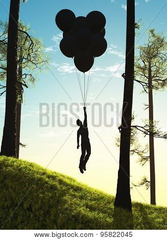 The man flies on balloons in the forest.