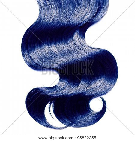 Curly blue hair over white