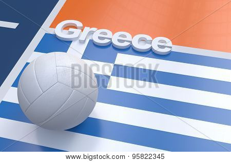 Flag Of Greece With Championship Volleyball Ball