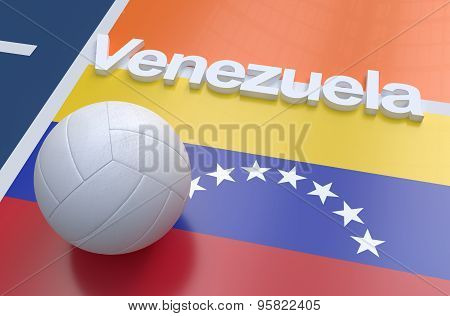 Flag Of Venezuela With Championship Volleyball Ball