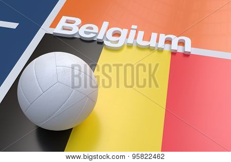 Flag Of Belgium With Championship Volleyball Ball