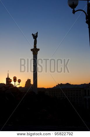 Independence Monument On Independence Square At Sunset. Kiev, Ukraine