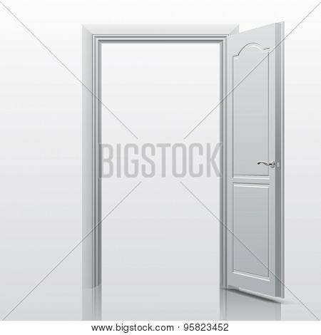 White open door. Vector illustration