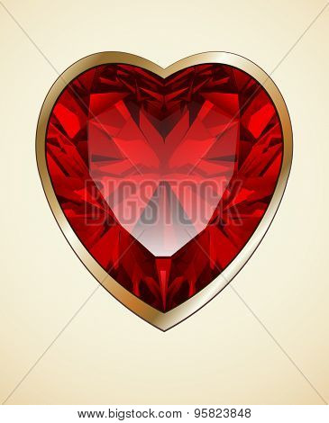 Ruby red heart as romantic background, vector illustration