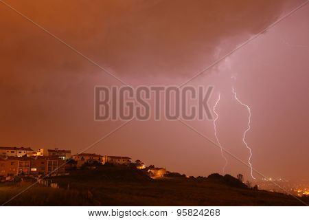 lightning bolt in the city of Braga, in the north of Portugal