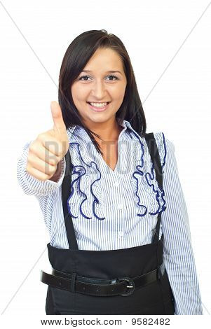 Cheerful Young Woman Giving Thumbs