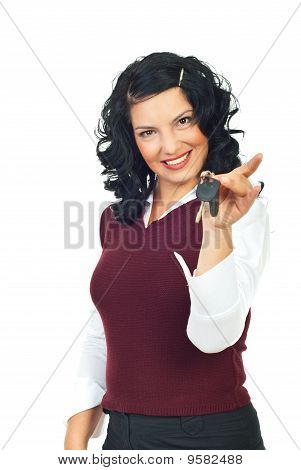 Woman Holding New Car Keys