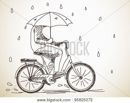 Sketch of bicyclist with umbrella under rain, Hand drawn Vector illustration