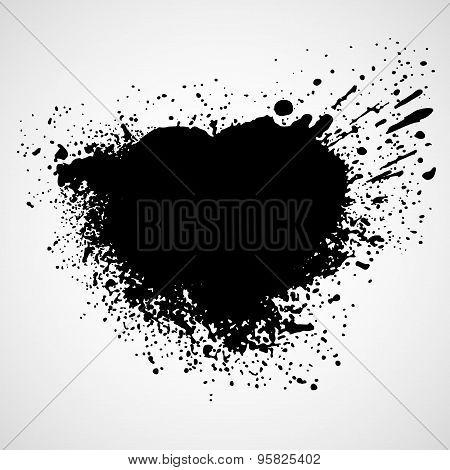 Paint stains black blotch background. Vector illustration