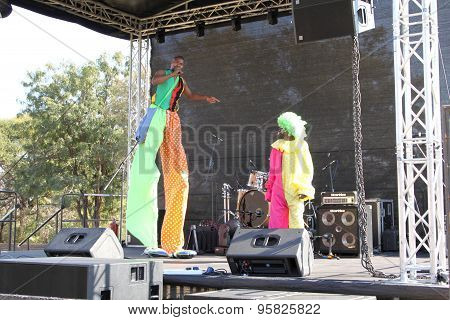 Black African Clowns On Stage