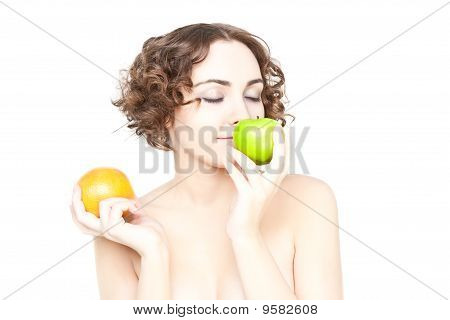 Beautiful Curly Girl With Two Fruits