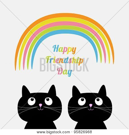 Happy Friendship Day Rainbow Two Cute Cartoon Cat. Flat Design Style.