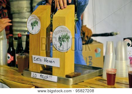 Draft beer at Beerfest by former German settlers in Chilean Patagonia