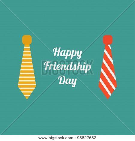 Happy Friendship Day Neck Tie Icon Set Flat Design