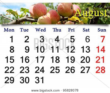 Calendar For August 2016 Year With Apples