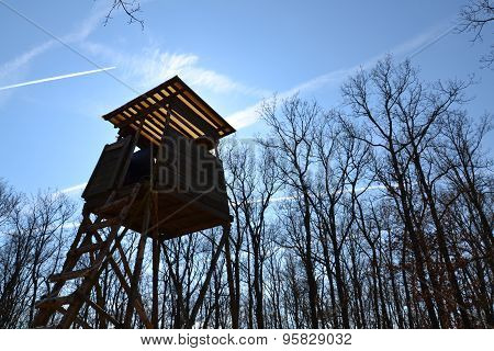 Wooden Hunters High Seat In Forest With Blue Sky In Background