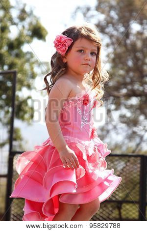Little Angel in pink dress at Beauty Pageant at Festival