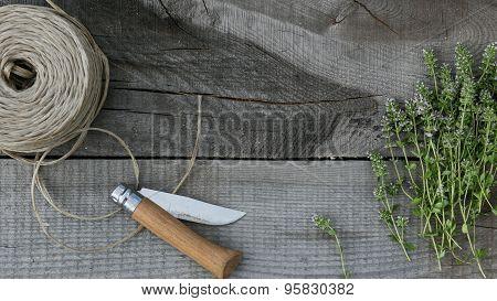 thyme on wood