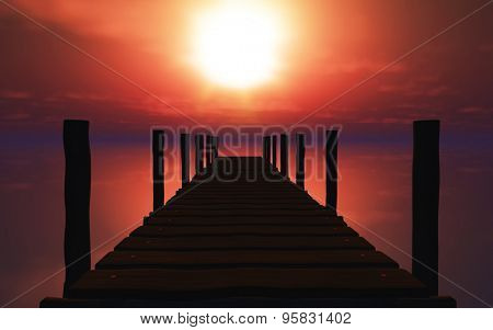 3D render of a wooden jetty against a sunset ocean