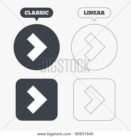 Arrow sign icon. Next button. Navigation symbol