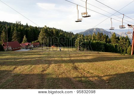 Ski Lift Up California Mountain