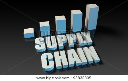 Supply chain graph chart in 3d on blue and black