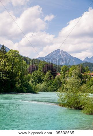 View Of Lech River From Fussen In A Sunny Day
