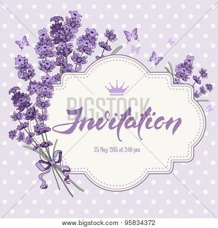 Cute vintage greeting or invitation card with hand drawn floral elements in engraving style - fragrant lavender. Vector illustration.