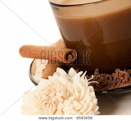 A Cup Of Coffee And Grated Chocolate