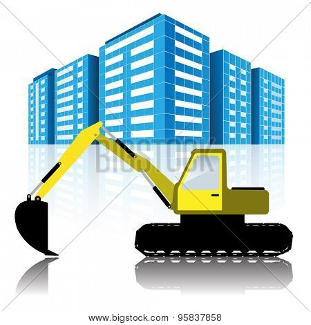 Illustration Excavator and Modern Urban Buildings.