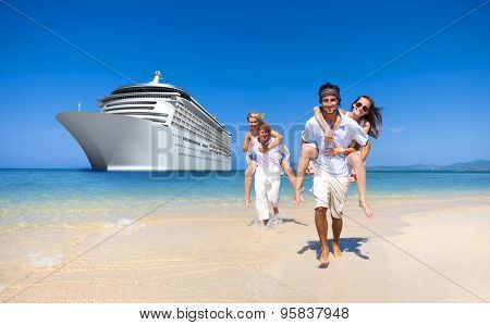 Summer Couple Island Beach Cruise Ship Concept