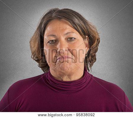 Sad fat woman