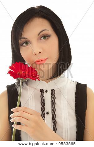 Picture Of Beautiful Woman With Red Flower