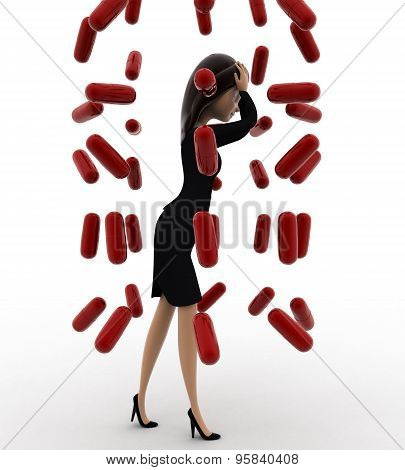 3D Woman Under Rain Of Red Germs Concept