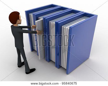 3D Man Taking Book From Bookshelf Concept