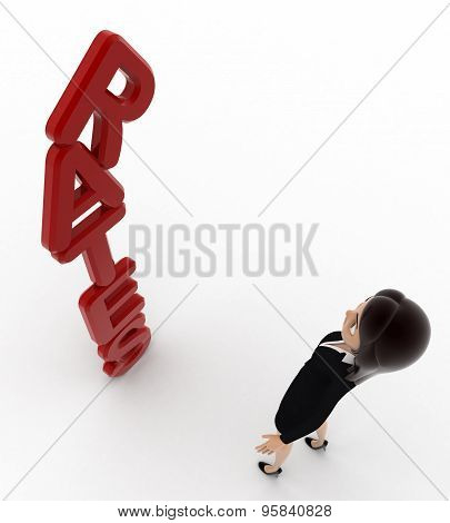 3D Woman Looking At Vertical Red Rates Text Concept