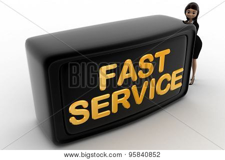 3D Woman With Fast Service Screen Concept