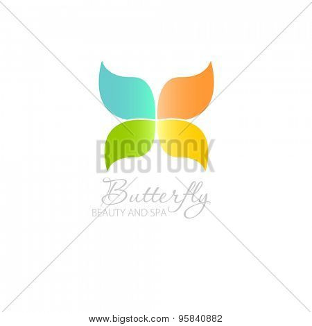 Abstract  illustration with Butterfly symbol. Logo design.  For beauty salon, spa center, health clinic