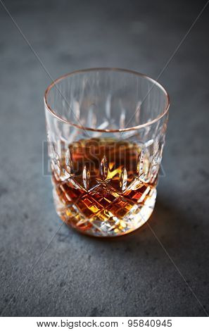A glass of black rum
