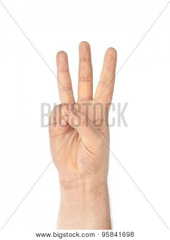 Counting hand - three - isolated on white background