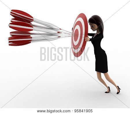 3D Woman Aim All Arrow At Center Of Target Board Concept