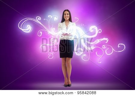 full length portrait of smiley woman holding magic lights in her hands over purple background