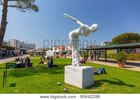 PISA, ITALY - APRIL 13, 2015: Monumental sculptures of Rabarama at Pisa International Airport, Italy. Galileo Galilei Airport named after famous scientist from Pisa is the main airport in Tuscany.