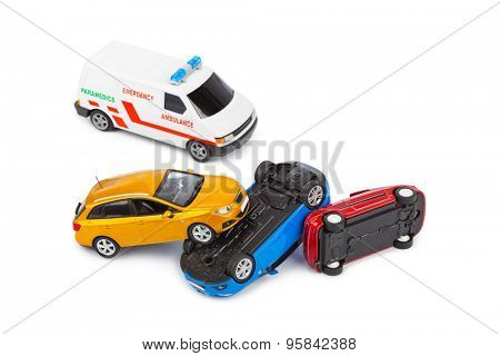 Crash toy cars and ambulance car isolated on white background