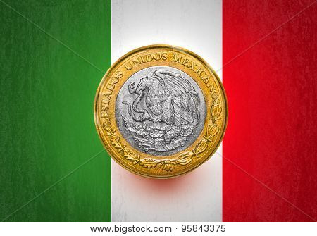 One Mexican Peso Flag in a coin