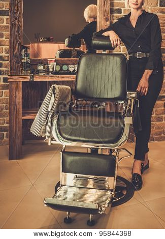 Hairstylist in a barber shop