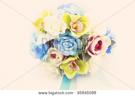 Artificial Flowers On White Background,vintage Effect
