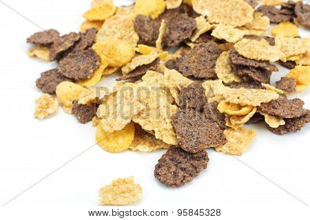 Close Up Cereal On White Background