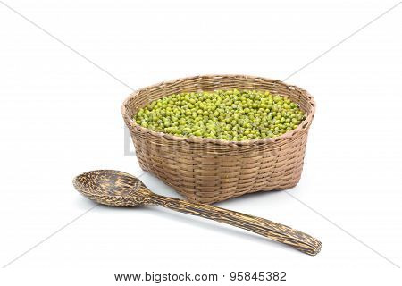 Green Bean Or Mung Bean In Bamboo Basket Isolated On White Background