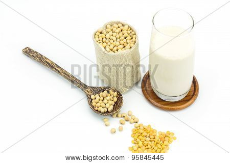 Soy Beans In Sack Bag And Soy Milk Isolated On White Background